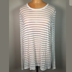 Aritzia Wilfred Marikka White Sheer Stripe Top